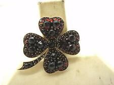 Victorian 9ct Gold Natural Bohemian Garnet Four Leaf Clover Brooch Pin