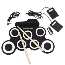 Portable Electronic Roll up Drum Pad Kit Silicon Foldable Record Stick Pad