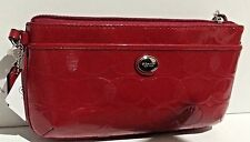 Coach F52078 Peyton Line C Embossed Patent Leather Wristlet Wallet Red.New w/tag