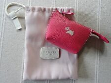NEW DIVINE RADLEY RASPBERRY PINK SMALL TIME LEATHER COIN PURSE WITH DUSTBAG