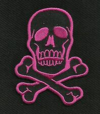 SKULL & CROSSBONES ROCKABILLY MOTORCYCLE JACKET VEST BIKER PATCH PINK ON BLACK