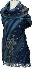 Pashmina Schal 100% Wolle wool hand bestickt scarf stole hand embroidered Sterne