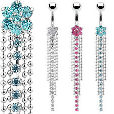 Wholesale Lot 3 Colors 7-GEM FLOWER BELLY NAVEL RING CRYSTAL CHAIN DANGLE