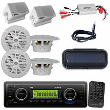 Marine Weatherband AUX MP3 Receiver+ 4X Round 2X Box Speakers, Cover & 800W Amp