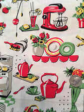 Retro Vintage Fifties Kitchen Michael Miller Cotton Fabric by the Yard