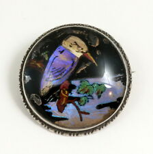 Vintage Art Deco Sterling Silver Butterfly Wing Picture Brooch Kingfisher Bird