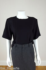 *YVES SAINT LAURENT* RIVE GAUCHE VINTAGE BLACK SILK T-SHIRT BLOUSE 44