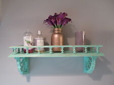 Upcycled wood wall shelf shabby cottage beachy rustic distressed green