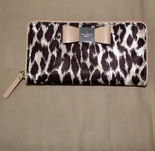 Kate Spade Veranda Place Nylon Lacey Leopard Bow Wallet Clutch  purse New