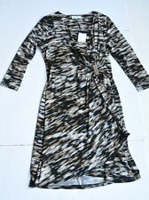 Calvin Klein Dress S 3/4 Sleeves Draped Wrap V-Neck Multi Color Stretch 2 4 6