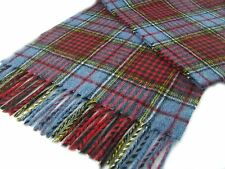 LUXURY WARM EXTRA LONG LAMBSWOOL SCARF Anderson BLUE CHECK Tartan British made