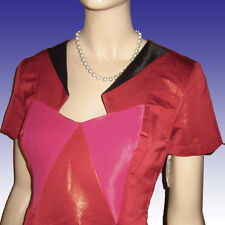NWT $480 ANA LOCKING Dress Sz 8 COLOR BLOCK Couture Sheath Wet Look RED
