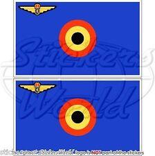 """BELGIUM Belgian AirForce Flag Belgique Vinyl Bumper Decals, Stickers 3""""(75mm) x2"""
