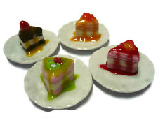 Set of 4 Crepe Cake Top Fruit and Sauce on Plate Dollhouse Miniatures Bakery-3