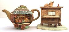 Set of 2 Beautiful Ornaments Objects Teacup Groceries Shop Piano Cat (5)