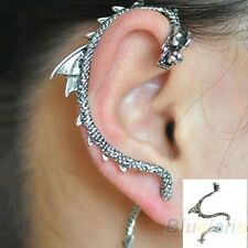 NEW SILVER DRAGON SNAKE EAR CUFF CLIP WRAP STUD EARRING GOTHIC PUNK UK SELLER