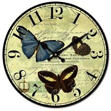 Shabby Chic Butterfly and Script Wall Clock - New