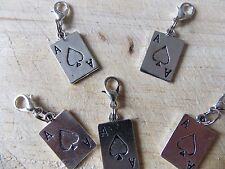 ACE OF SPADES Lucky silver tone charm clip on lobster clasp for charm bracelets