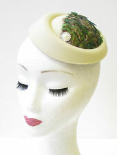 Olive Green Cream Peacock Feather Pillbox Hat Fascinator Hair Clip Vintage 1362