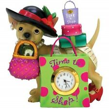 4 Inch Time to Shop Chihuahua Shopaholic Mini Clock Figurine