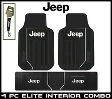 3 Pc Front + Rear Runner Jeep Elite Floor Mats Plasticolor + Strap Key Chain USA