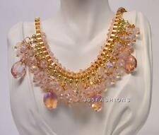 STATEMENT FUNKY BOHO CHUNKY OVAL BEADS BIB COLLAR BOX CHAINS NECKLACE PINK