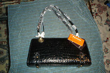 Pursuer Leatheroid  Aligator Glossy Black Fashion Purse diophy trade co. ltd