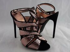 $2170 Tom Ford Pink High Heel  39  9 Black Leather Ankle Strappy Sandal New Shoe