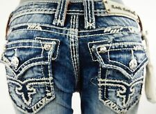 """$180 Rock Revival Womens Jean """"Abbie"""" Thick Picked Stitching Flare 28 X 30"""