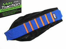 KTM SXF450 SX/F450 2016 2017 RIBBED SEAT COVER BLACK + BLUE ORANGE STRIPES RIBS