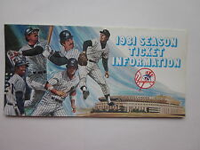 1981 New York Yankees Ticket Info Brochure Reggie Jackson Tommy John D. Winfield