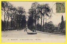 cpa 60 - BEAUVAIS (Oise) Boulevard de la GARE Animé Troupeau de MOUTONS BERGER