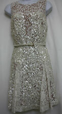 ELIE SAAB WHITE SEQUINED COCKTAIL DRESS SIZE 34 US 2 NWT