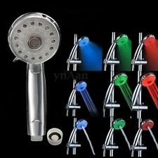 Temperature Sensor Control LED 3 Mode Color Changing Light Shower Head Bathroom