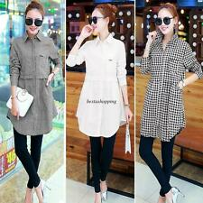 Fashion Women Korean Loose Long Sleeve Collage Check Blouse Tops T-shirt S-2XL