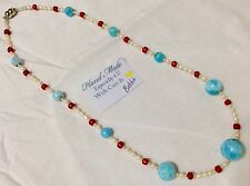 handcrafted LONG AAA Larimar Red Coral Freshwater Pearl necklace  925 silver