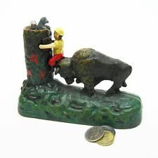 SP85 - Butting Buffalo Collectors' Die Cast Iron Mechanical Coin Bank