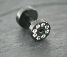 SCHWARZER TUNNEL mit Kristallen Ohrring Piercing 1,6MM Edelstahl Chirurgenstahl