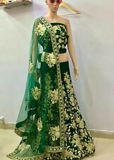 Designer Wear Exclusive Dori Work Green Velvet Lehenga Choli
