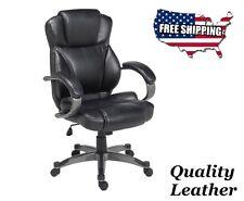 Luxurious Genuine Black Leather Executive Office Chair Computer Desk, Ergonomic