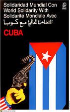 Political cuban POSTER.World Solidarity with Cuba am30.Revolution History art