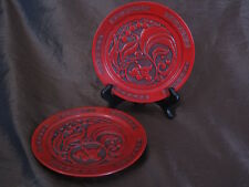 A PAIR OF VERY  Old Chinese Laquer on WOOD DISHES .