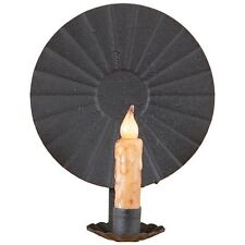 Round Tin Reflector Candle Wall Sconce in Black by Irvin's Country Tinware