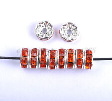 Wholesale Czech Crystal Rhinestone SILVER Rondelle Spacer BEADS 6MM 7MM 8MM 10MM