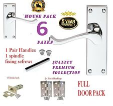 Full Door Pack X 6: MODERN Chrome Scroll Lever Door Handle: Hinges & Latch
