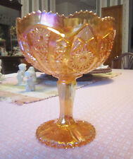 Vintage Imperial Glass Carnival Compote Marigold Hobstar & Arch