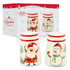 FATHER CHRISTMAS AND SNOWMAN SALT AND PEPPER SET  FESTIVE DINING TABLE