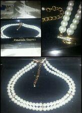 AMANDA SUAREZ collier perle e strass pearl necklace with rhinestone scatola box