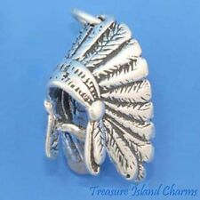 NATIVE AMERICAN INDIAN CHIEF FEATHER HEADDRESS 3D .925 Sterling Silver Charm