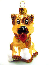 NEW IMPULS Blown Glass Christmas Ornament Adorable Dog with Bone Terrier Poland
